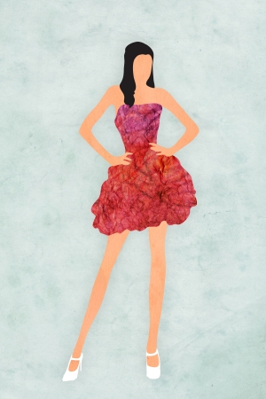 prom dress: Figure modeling a red dress