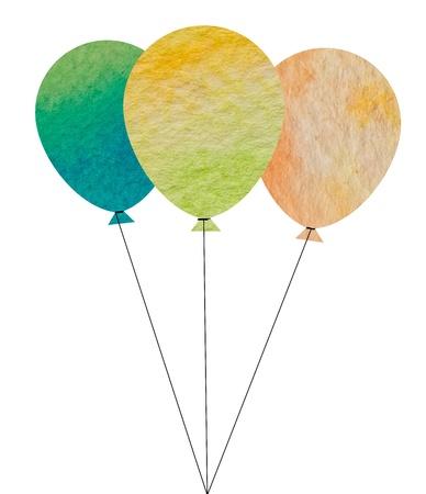 Watercolor birthday balloons Фото со стока