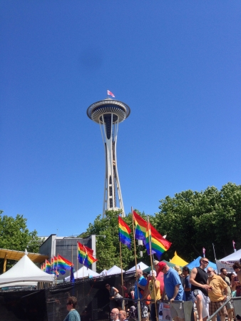 The space needle during pride fest 2013