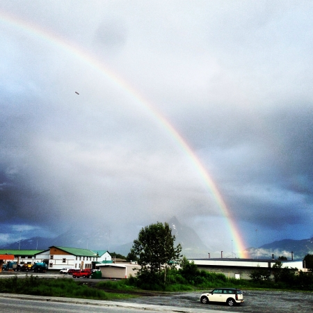 Rainbow over a little town