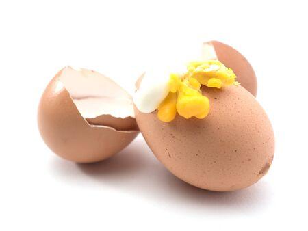 eggshell: eggshell broken while cooking on white background