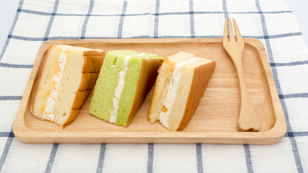 chiffon: chiffon cake on wood plate