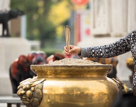 Burning Incense sticks for worship goddess Stock Photo
