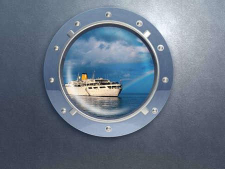 Bullauge Metall. Fenster Schiff. Schrauben.