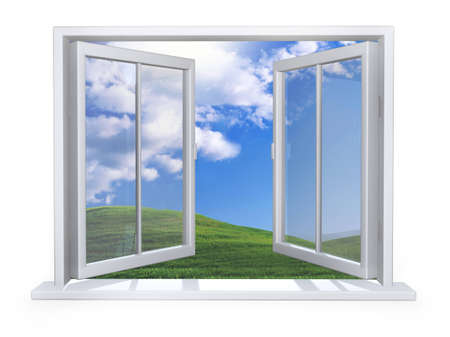 open white window on white wall Stock Photo - 4210536