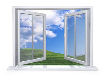 fenetres: Ouvrez la fen�tre blanche sur un mur blanc Banque d'images