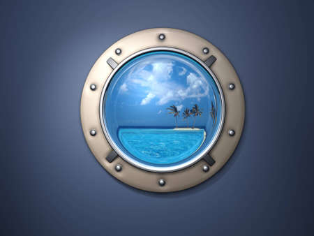 ship porthole: Ship metal window and far far island.