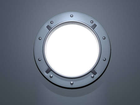 ship porthole: porthole metal. window ship. screws. white background