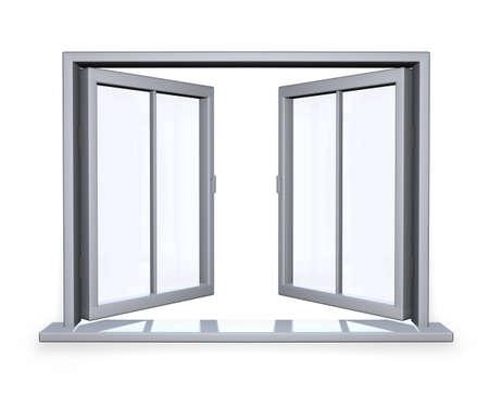 open window: open window on white wall