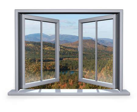 cielos abiertos: Abra la ventana blanca con vistas a la monta�a