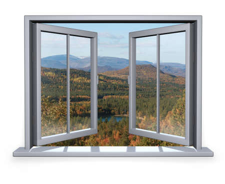 open white window with a view to the mountain Stock Photo - 6702638