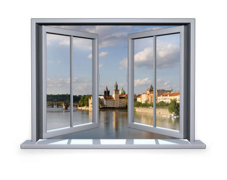 open white window  with a view to the Charles Bridge photo