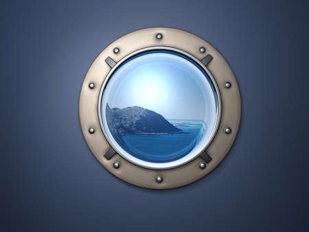 Finestra di metallo di nave e terra lontano lontano