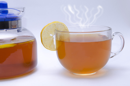 stimulated: chyornya tea with a lemon on a white background