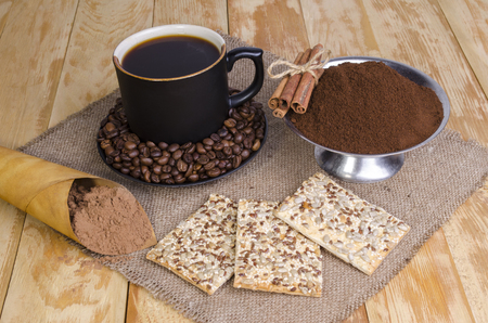 invigorating: the invigorating breakfast from hot coffee with cookies and wafers