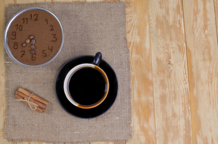 invigorating: the invigorating breakfast from hot coffee with seasonings on a table