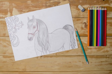 drawing paper: beautiful creative drawing a pencil on paper