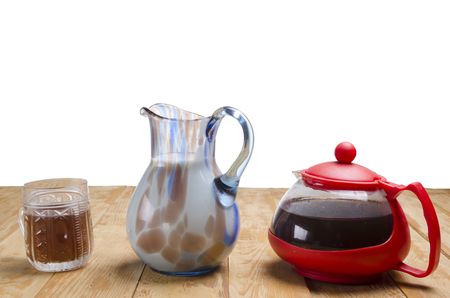 tarik: fragrant tea with milk on a wooden table