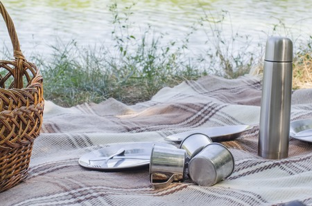 ware: ware on a plaid for picnic outdoors