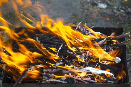 the shish kebab: hot and bright fire in a brazier for a shish kebab Stock Photo