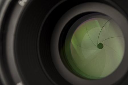 Camera lens with closed diaphragm petals close Stock Photo