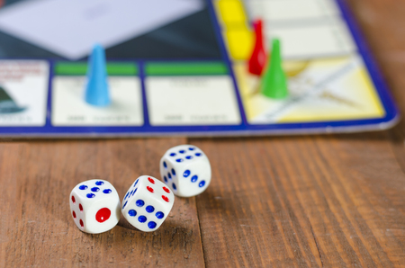 Cubes with the game on the table