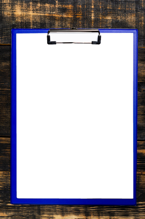 blank paper on wooden table, flat lay, top view