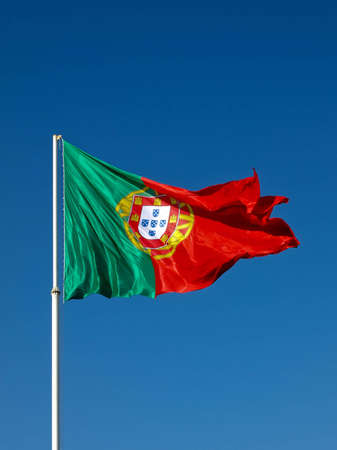 The biggest Portuguese flag in the world waves in the wind.