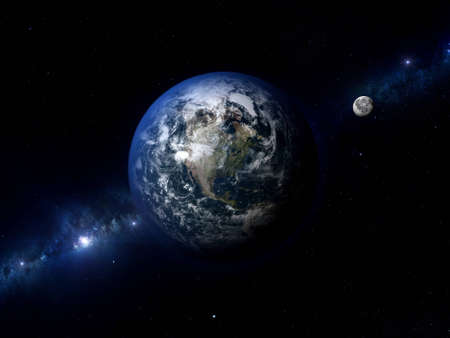 Highly detailed and realistic 3D render of planet Earth and the Moon in space.