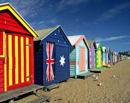 melbourne: Bathing Boxes at Brighton Beach