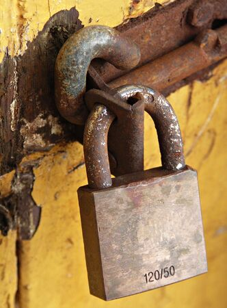 Padlock on Yellow door photo