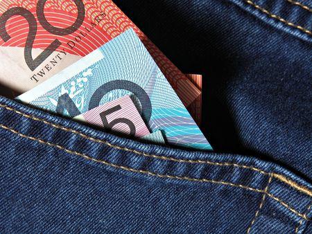 Australian money in jeans pocket