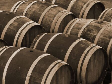 Wine Barrels in Sepia Stock Photo