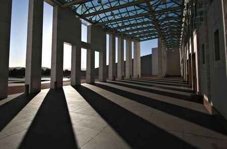 Shadows at the entrance to Australias Parliament House - Canberra