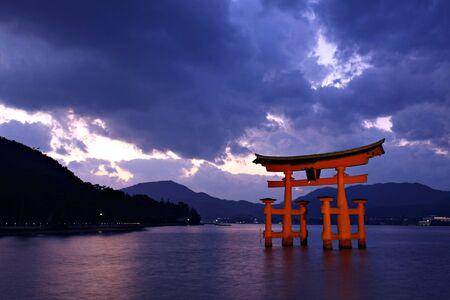 Torii gate at Miyajima, near Hiroshima - Japan Editorial