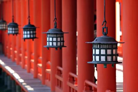 Lanterns at Miyajimas Itsukushima Shrine - near Hiroshima Japan Editorial