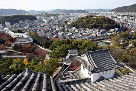 feudal: View from Himeji Castle, Japan Editorial