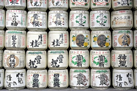 japanese temple: Sake Barrels at a Japanese Temple