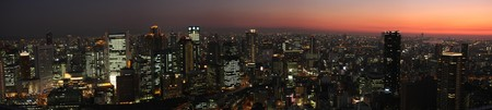Osaka skyline at sunset - view from Umeda Sky Building Stock Photo