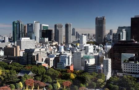travel japan: Tokyo skyline Stock Photo