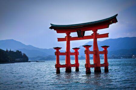 hiroshima: Torii gate at Miyajima, near Hiroshima - Japan Editorial