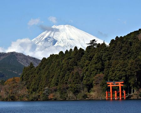 torii: Mount Fuji and Lake Ashi  Editorial