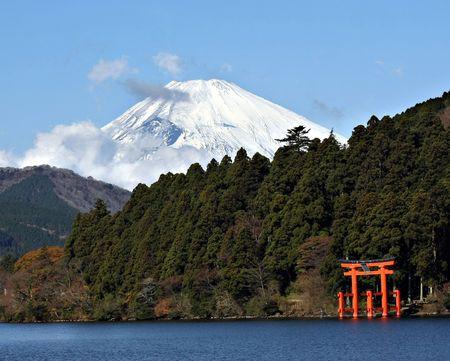 shrine: Mount Fuji and Lake Ashi  Editorial
