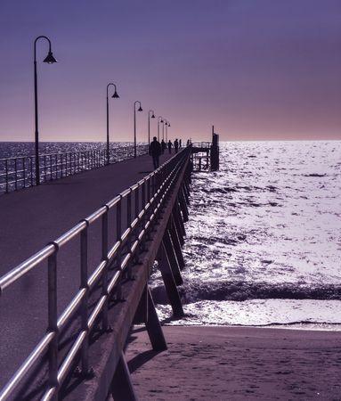 Glenelg pier at sunset  Stock Photo