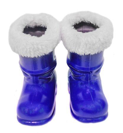 blue santa: Blue Santa Claus boots, Saint Nicholas, isolated on white background.