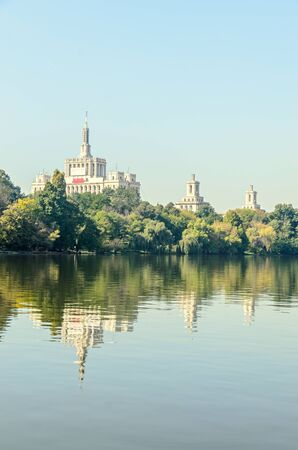 View from Herastrau Park of House of the Free Press - Casa Presei Libere.