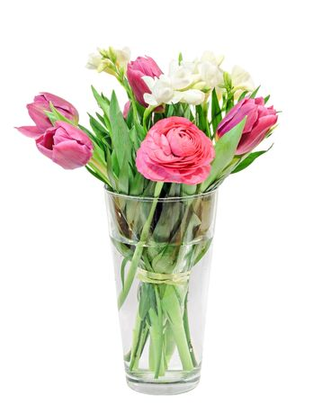 Blaue Tulpen, Weiße Freesien, Ranunculus Blumen, Bouquet, Blumen ...