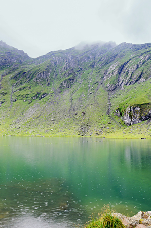 balea: Balea Lake glacier lake situated at 2034m altitude in the Fagaras Mountains, Sibiu County.