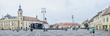 rumanian: SIBIU, ROMANIA - AUGUST 10, 2016: Great Square from downtown (Piata Mare)