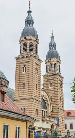 rumanian: SIBIU, ROMANIA - AUGUST 10, 2016: The Holy Trinity Cathedral (Catedrala Sfânta Treime).